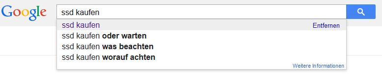 Google SSD kaufen Suchanfrage