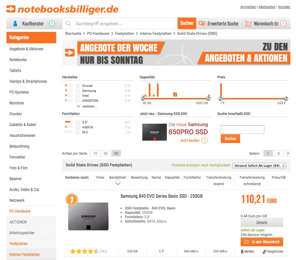 notebooksbilliger Ansicht Website