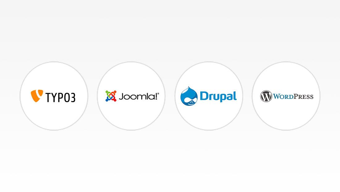 Typo3, Joomla, Drupal, Wordpress Logos