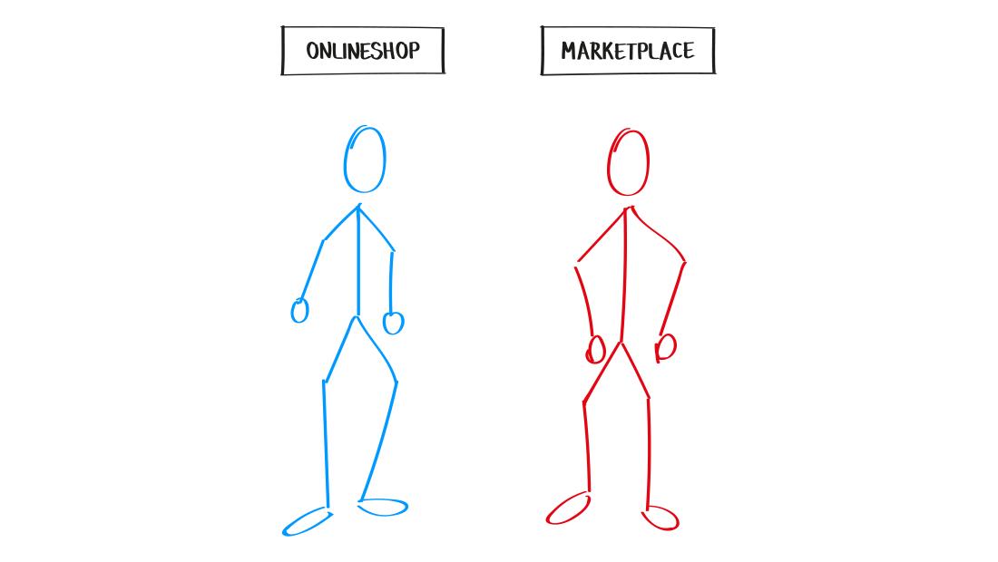 Onlineshop vs Marketplace Grafik