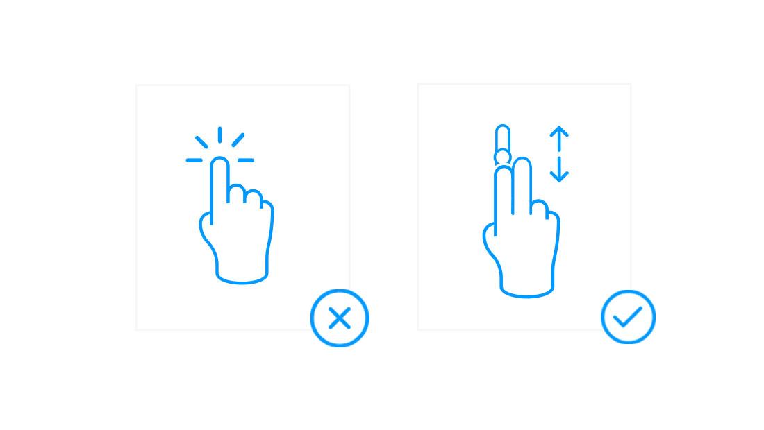 Scrolling mit zwei Fingern
