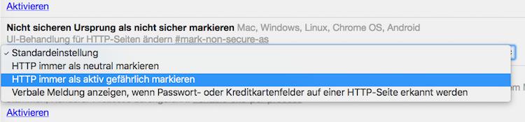 HTTP immer als aktiv gefährlich markieren