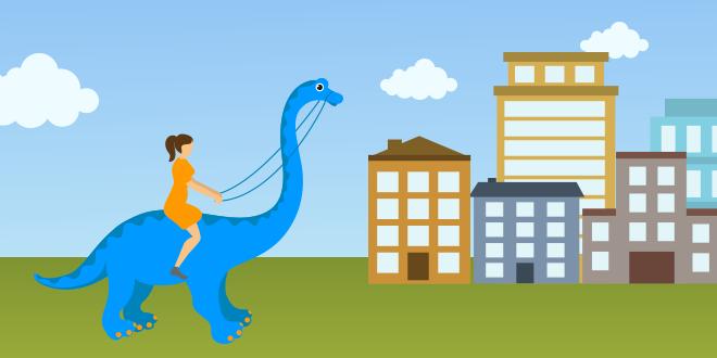 Dinosaurier vor Stadt