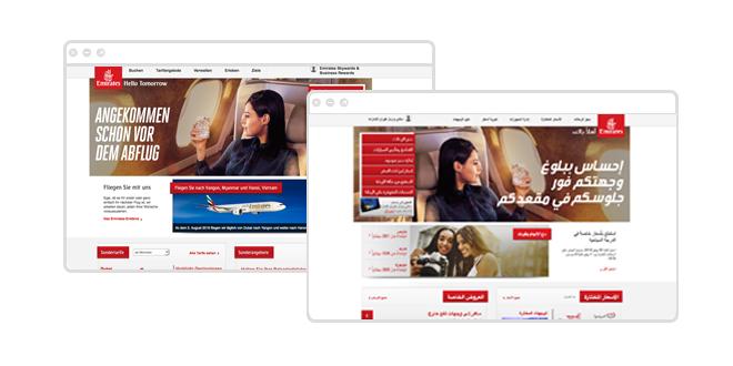 Emirates Website Ansicht