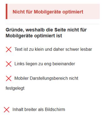 Nicht für Mobilgeräte optimiert
