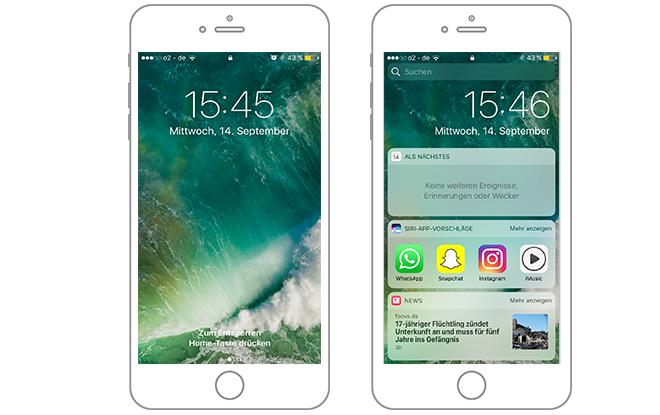 mobile Ansicht Apple Benachrichtigungen