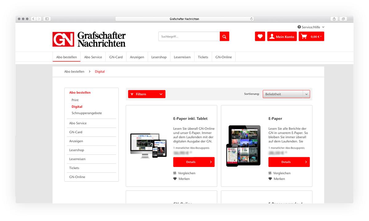 Grafschafter Nachrichten Website Ansicht