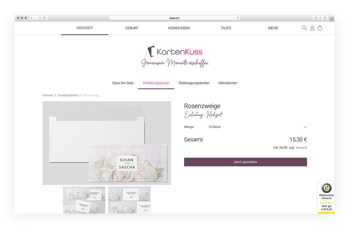 Projekt Kartenkuss Webshop Shopware 6