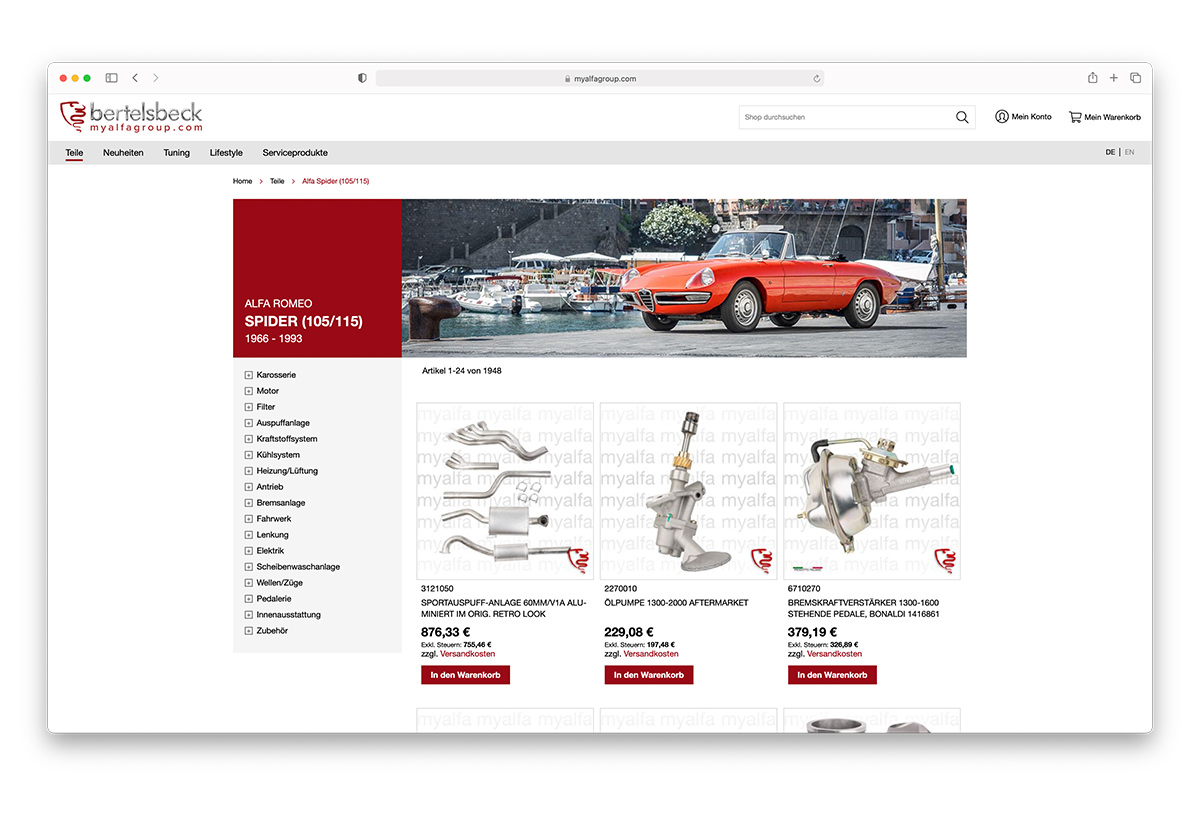 Referenz Bertelsbeck Magento Autoteile