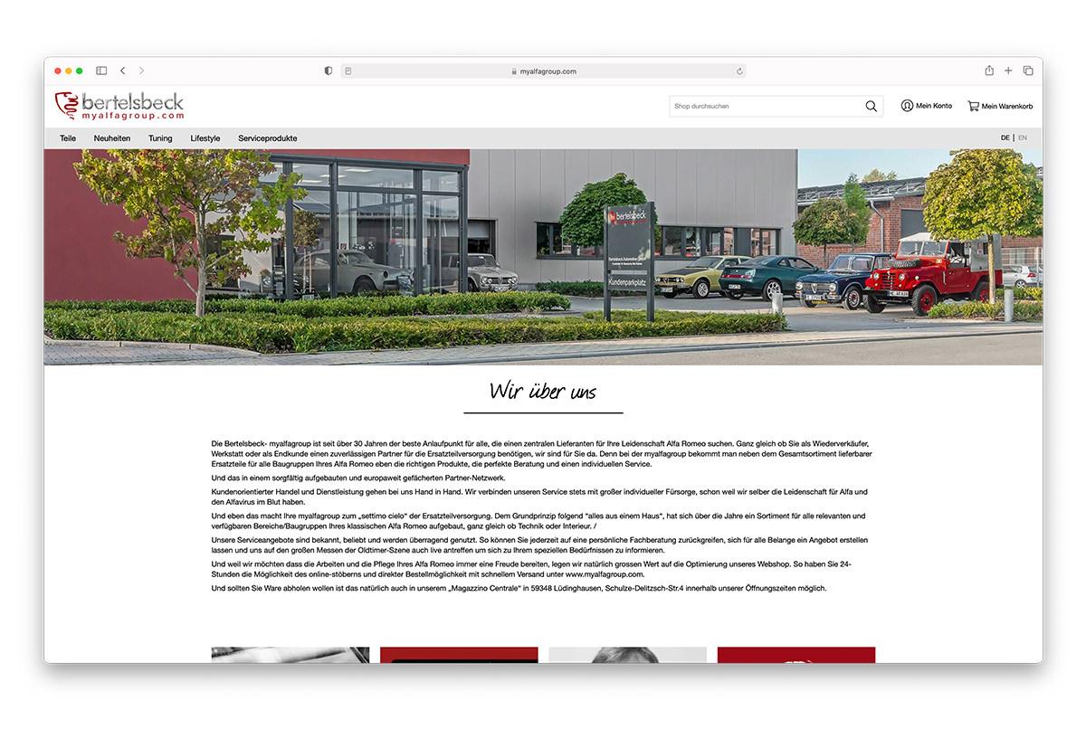 Referenz Bertelsbeck Magento Alfa Ersatzteile